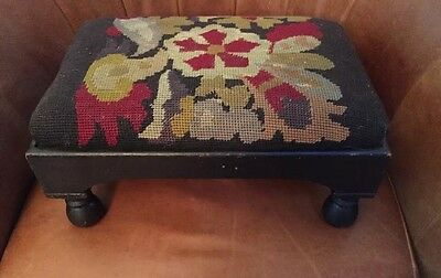 Antique Needlepoint Wood Foot Stool Victorian, Arts Crafts Great!!