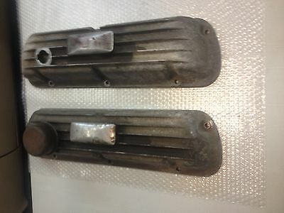 Vintage Hi-Po 289 302 Aluminum Finned Valve Covers With Rare Pillow Breathers