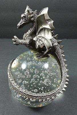 Pewter FLYING Dragon mounted on Crystal Ball with bubbles MYTHICAL MAGIC WINGED