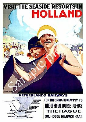 TA40 Vintage Holland Netherlands Dutch Railways Travel Poster Re-Print A4