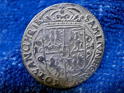 Poland:  Silver Ort 1624 Hand Hammered Coin! Very Fine++++!