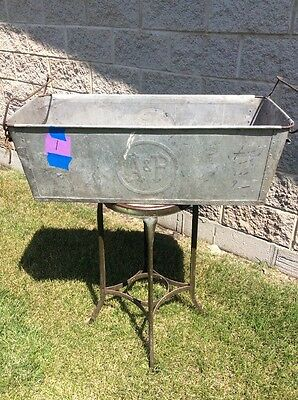 Vintage A & P Grocery Store Galvanized Steel Metal Bins with Handles ~ RARE! (1)
