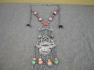 Rare Ornate Antique Chinese Turquoise Red Coral Sterling Silver Bell Necklace