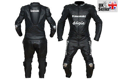 Two Piece Kawasaki Motorcycle Leather Racing Black Suit Ce Approved Armor
