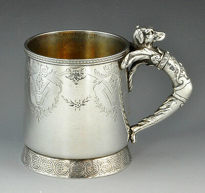 Rare Gorham Sterling Silver Baby Cup with Figural Dog Handle, circa 1872