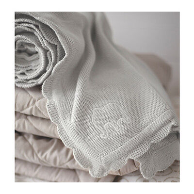 Blanket Baby Infant Toddler Child Elephant 70x90cm Cotton Knitted Grey BRAND NEW