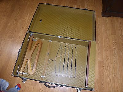 Vtg Antique Steamer Wardrobe Flat Top Trunk with Hangers & Key Suitcase Chest