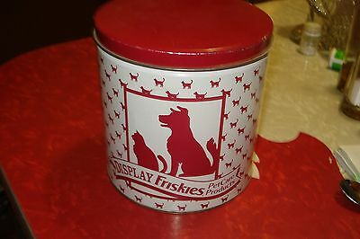 Vtg Quaint Friskies Dog/cat Advertising Display Food Tin~Vibrant Red/white~Nr