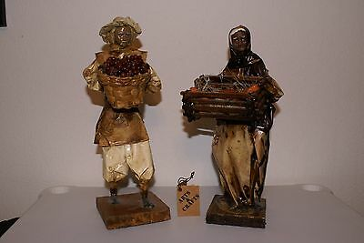 "NWT~Pair Of Handcrafted/Hand Painted~ Fine Art~ Paper Mache 12"" Mexican Figures"