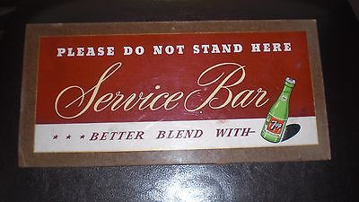 Vintage 7-Up Soda Service Bar Sign Double Sided