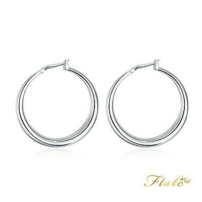 Classic Ladies 925 Sterling Silver 40mm Large Round Hoop Fashion Earrings UK