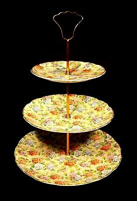 C.1940's Boxed 3 Tier Cake Stand James Kent Old Foley Hydrangea Chintz Pattern.