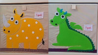 Toy Storage Box 3 Sprouts KIDS 2 Animal Designs Dragon or Rhino NEW