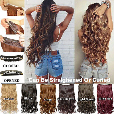 Long 20'' One Piece(5 Clips)Clip-on Synthetic Long Wavy Human Hair Extensions