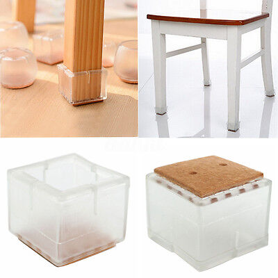 8x Chair Leg Caps Protector Rubber Feet Pad Furniture Table Covers Square Bottom