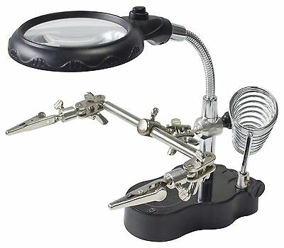 Am-Tech Soldering Iron Stand & LED Helping Hands Magnifying Glass & Clip S2885