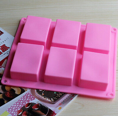 6 Holes Pink Brick Shape Jelly Pudding Handmade Soap Silicone Mold DIY Craft