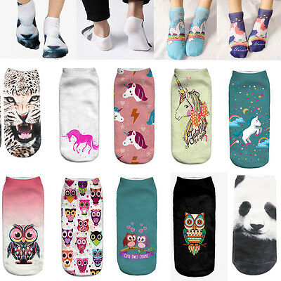 Hot 3D Unicorn Print Men Women Casual Low Cut Socks Cotton Animals Pattern Socks