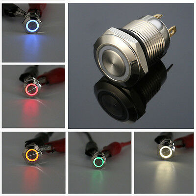 Chrome 4 Pin 12mm 12v Led Metal Push Button Momentary Switch Waterproof 5 Colors