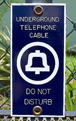 Original UNDERGROUND TELEPHONE CABLE DO NOT DISTURB Bell System Porcelain Sign