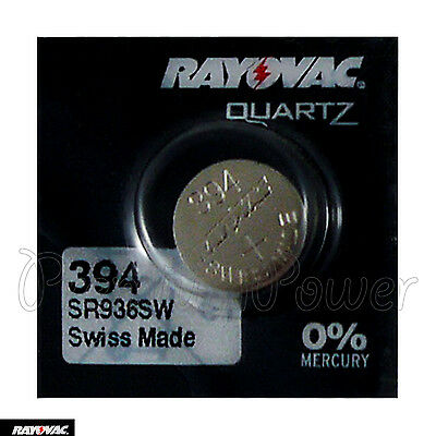 1 x Rayovac 394 battery Silver Oxide 1.55V 380 SR936SW SR45 V394 Watches Swiss