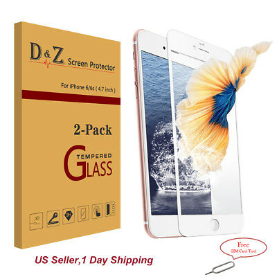 2 PK iPhone 6/7/8 Plus Full Screen Tempered Glass Edge to Edge Protector Curved