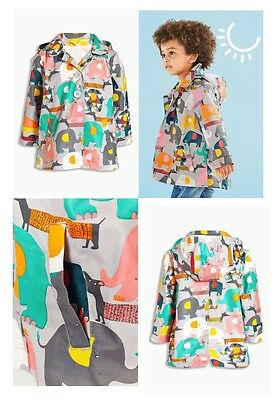 Next Baby Girl Grey With Multicolour Elephant Coat Jacket 12-18 Months