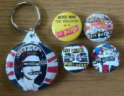 Sex Pistols set of 4x 25mm button badges plus 45mm God Save The Queen keyring