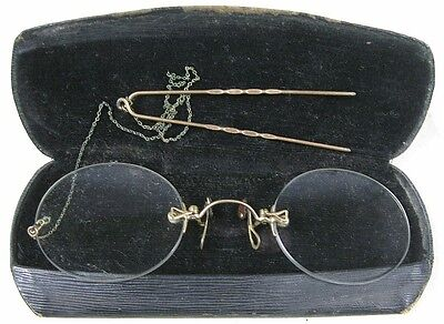 Antique Eye Glasses 1/10 12K Gold Filled Hair Clip Clap-on