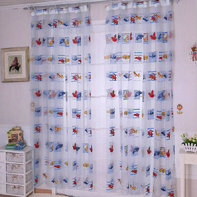 Hot Cartoon Voile Blackout Curtains for Kids Room Window Curtains Tulle Sheer1T4
