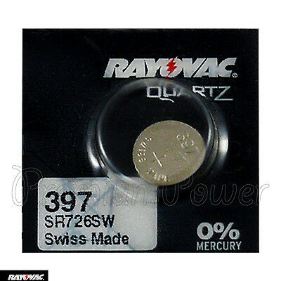 1 x Rayovac 397 battery Silver Oxide 1.55V SR726SW SR59 SR726 Watches Swiss