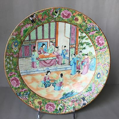 Antique chinese export Canton famille rose porcelain plate 19th C