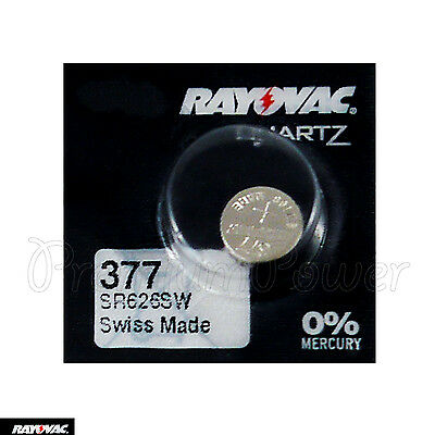 1 x Rayovac 377 battery Silver Oxide 1.55V SR626SW SR66 376 V377 Watches Swiss