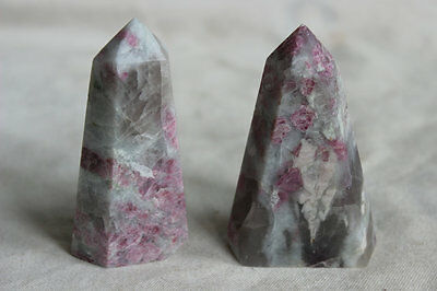 2 Pieces Rare Natural Red Tourmaline Quartz Crystal Points Polished Healing