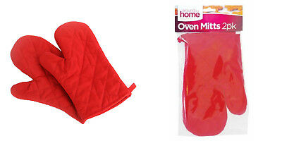 1, 2 or 4 Padded Oven Gloves Baking Cook Kitchen Mitts Cotton Red Washable BBQ