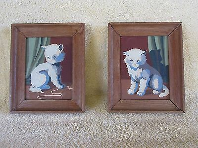 Vintage Cat Kitty Paintings, Pair, Framed, Adorable!
