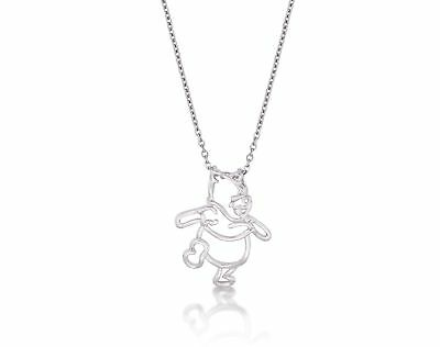 Disney Couture White Gold-Plated Winnie the Pooh Bear Outline Character Necklace