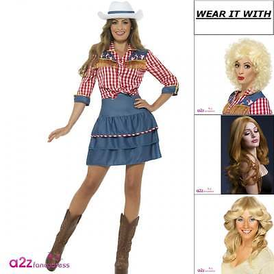 Womens Rodeo Doll Dolly Parton Western Cowgirl Adult Fancy Dress Costume Wig Hat