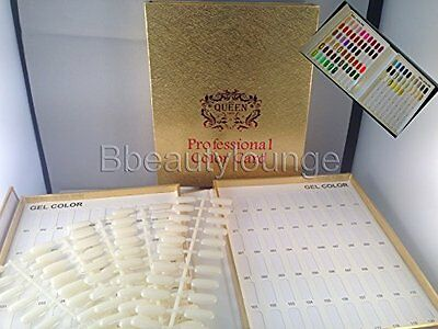 120 Gold Nail Tip Colour Chart Display Book With 120 Tips For Uv/led Gel Polish