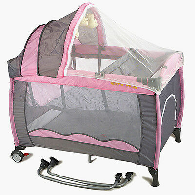 All in 1 Deluxe Baby Portable Travel Cot Portacot Playpen Crib Bed Bassinet PINK