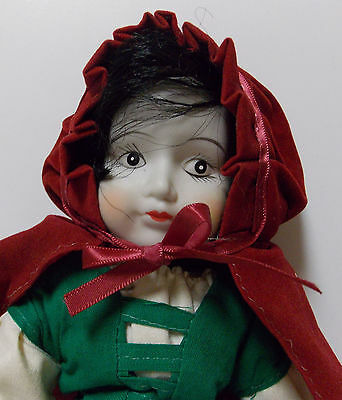 Vintage  Made In Taiwan Little Red Riding Hood Porcelain Doll  Ooak