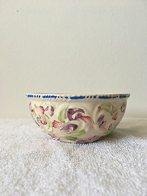 "A Wonderful Vintage Hand Painted Floral Pottery Bowl Indented ""ITALY"" On Bottom"