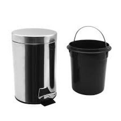 3 Litre Chrome Pedal Bin Waste Garbage Trash Office Toilet Home Bathroom Kitchen