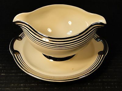 Taylor Smith Taylor Platinum 5 Bands Rings Gravy Boat UnderPlate 601 Crazing