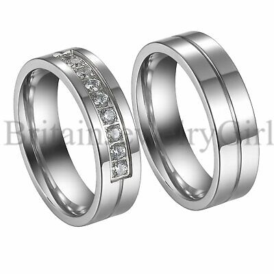 2PCS His and Hers Couple Rings Set CZ lnlaid Promise Wedding Engagement Band
