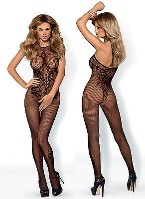 OBSESSIVE G308 Luxury Super Soft Patterned Fishnet Bodystocking