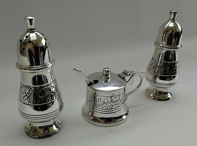 Vintage Silver Plate Ornate Art Deco Pattern Cruet Salt Pepper Pots Mustard Set