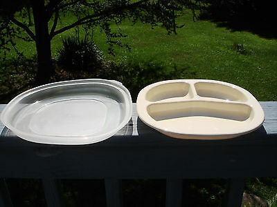 RUBBERMAID MICROWAVE HEATABLES Cookware Divided Plate Square Beige ...