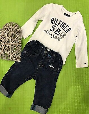 Tommy Hilfiger White Long Sleeve Shirt & Next Denim Jeans Baby Boy 9-12 Months