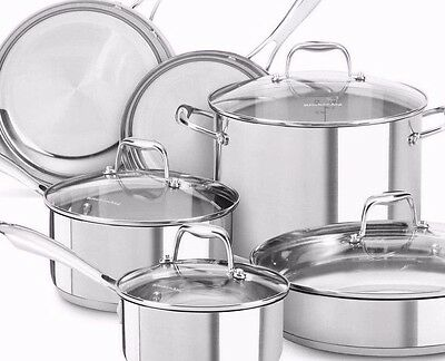 KitchenAid KCSS10LS Stainless Steel 10-Piece Cookware Set - Polished Stainles...
